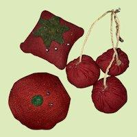 Antique Miniature Sewing Fruit Pin Cushion Ensemble