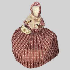 Antique American Folk Art Sewing Doll Pin Keep