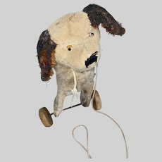 Antique Primitive Cloth Straw Stuffed Glass Eye Adorable Puppy On Wheels Toy