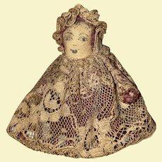 Antique American Folk Art Cloth Miniature Wishbone Pencil Face Doll
