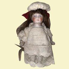 Antique All Bisque German Dollhouse Doll