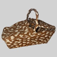 Old Folk Art Braided Cloth Rare Sewing Basket