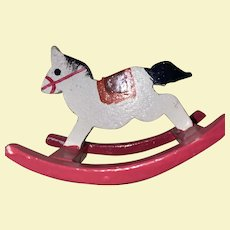 Miniature Dollhouse Wooden Painted Rocking Horse