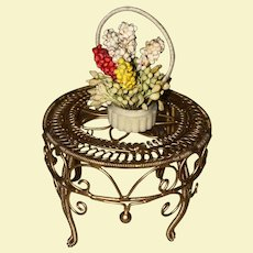 Old Gold Tone Miniature Dollhouse Soft Metal Table With Flower Basket