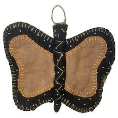 Antique American Folk Art Hand Sewn Calico Cloth Butterfly Pin Keep