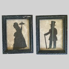 Antique American Folk Art Black Card Cut Silhouettes