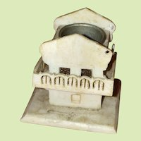Antique Early Bone Sewing Thimble Holder Miniature House