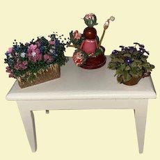 Artist Made Dollhouse Miniature Flower Pot Ensemble