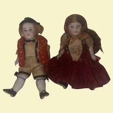 Antique German All Bisque Tiny Pocket Dolls