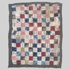 Antique Calico Hand Sewn Square Miniature Sampler Quilt