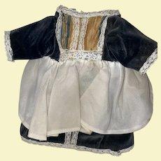 Old Hand Made Lace Embellished Velvet Doll Dress