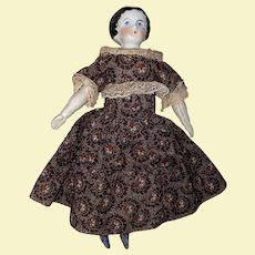Antique German 19th Century Dollhouse Doll With Beautiful Calico Dress