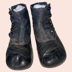 Antique Victorian Leather Shoe Button Child's Shoes