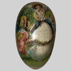 Antique German Double Sided  Lithograph Easter Egg
