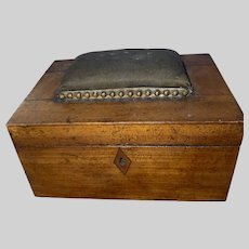 Antique Early Wooden Chest Sewing Box Pin Cushion