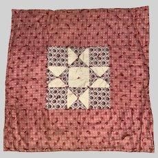 Antique Pink Calico Miniature Square Crib Quilt