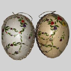 Antique Twin German Paper Mache Dresden Trim Candy Container Easter Egg