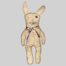 Vintage Flannel Cotton Stuffed Bunny Rabbit