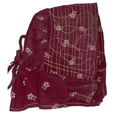 Antique Calico Tie Back Doll Bonnet