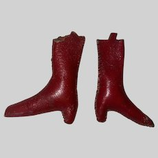 Antique Victorian Folk Art Rare Red Leather Sewing Accessory Booties