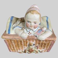 Antique German Victorian Parian Bisque Fairing Trinket Box Baby In Basket