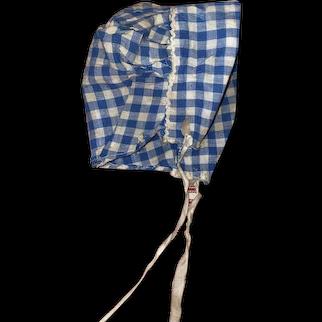 Antique Gingham Cloth Prairie Doll Bonnet