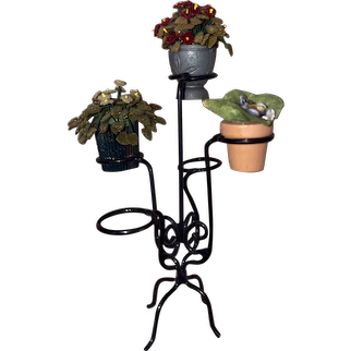 Dollhouse Miniature Metal Armed Plant Stand