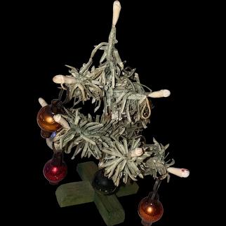 Old Vintage German Miniature Dollhouse Christmas Feather Tree