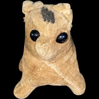 Antique Straw Stuffed Velvet Theorem Kitty Figural Pin Cushion