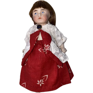 """Antique Early All Bisque German 6"""" Doll"""
