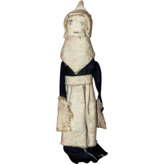 Antique American Folk Art Miniature Cloth Pencil Face Clothes Pin Doll