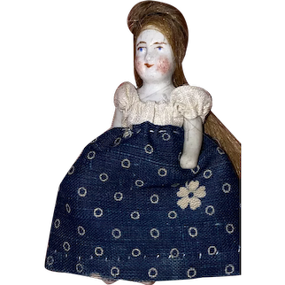 "Antique 3"" German Stone Bisque Dollhouse Doll"