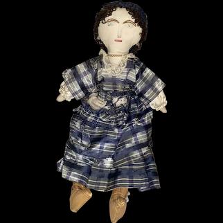Antique Stitched Face American Folk Art Cloth Doll
