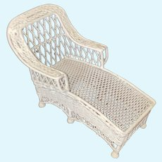 Miniature Dollhouse Painted White Cast Metal Molded Wicker Chaise Lounge