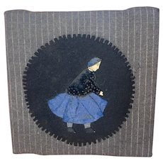 Antique Folk Art Rare Paper Cloth Doll Pen Wipe