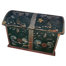 Antique Folk Art Dome Top Painted Wooden Miniature Dowry Bridal Box