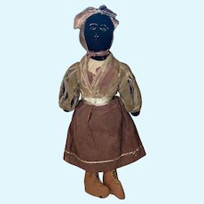 Antique Folk Art Americana Sock Cloth Stitched Face Rag Doll