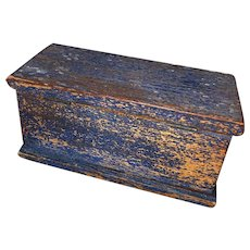 Antique Miniature Wooden Folk Art Painted Blanket Box