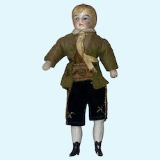 "Antique German 4-3/4"" Molded Head Boy Bisque Dollhouse Doll"