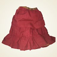 Antique Pleated Fashion Doll Lined Skirt