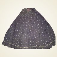 Antique Blue Calico Early Doll Skirt