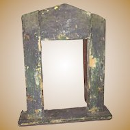 Antique Primitive Miniature Doll House Cabinet Window Insert