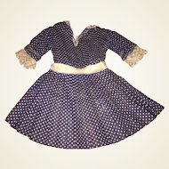 Antique Hand Made Navy and White Dotted Doll Dress
