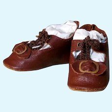 """Kid Brown Leather Antique German Doll or French Bebe shoes 2 ½"""" by 1 1/4"""" ~ please contact us for invoice. ~~ #1"""
