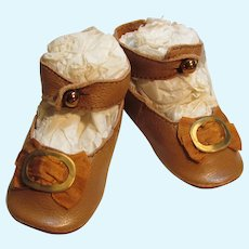 """Kid Brown Leather Doll shoes Antique French German Doll ~ 3"""" long X 1 3/8"""" wide ~~ Please wait for an invoice ~~ #9"""
