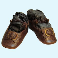 """Kid Leather Brown Doll shoes Bru Style ~ 2 1/8"""" long X 7/8"""" wide ~~ Please wait for an invoice ~~ #10"""
