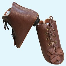 """Heeled Kid Leather Doll Boots ~ 3 ¾"""" long & 1 ½"""" wide  ~~ Please contact for an invoice. ~ #11"""