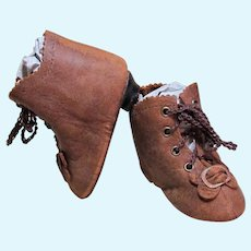 "Heeled Kid Leather Doll Boots Antique French Or German Doll Shoes ~ 2 ¾"" long & 1 1/4"" wide ~~ Please contact for an invoice. ~ #15"