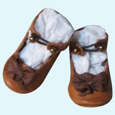 """Kid Brown Leather Antique German Doll or French Bebe shoes 1 3/4"""" by 7/8"""" ~ please contact us for invoice. ~~ #16"""
