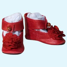 """Kid Red Leather Doll Shoes Antique French German Doll ~ 1 1/2"""" long X 3/4"""" wide ~~ Please contact for an invoice ~~ #18"""
